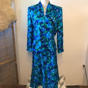 ADRIANNA PAPELL Blue/Green Floral Skirt/Jacket-16